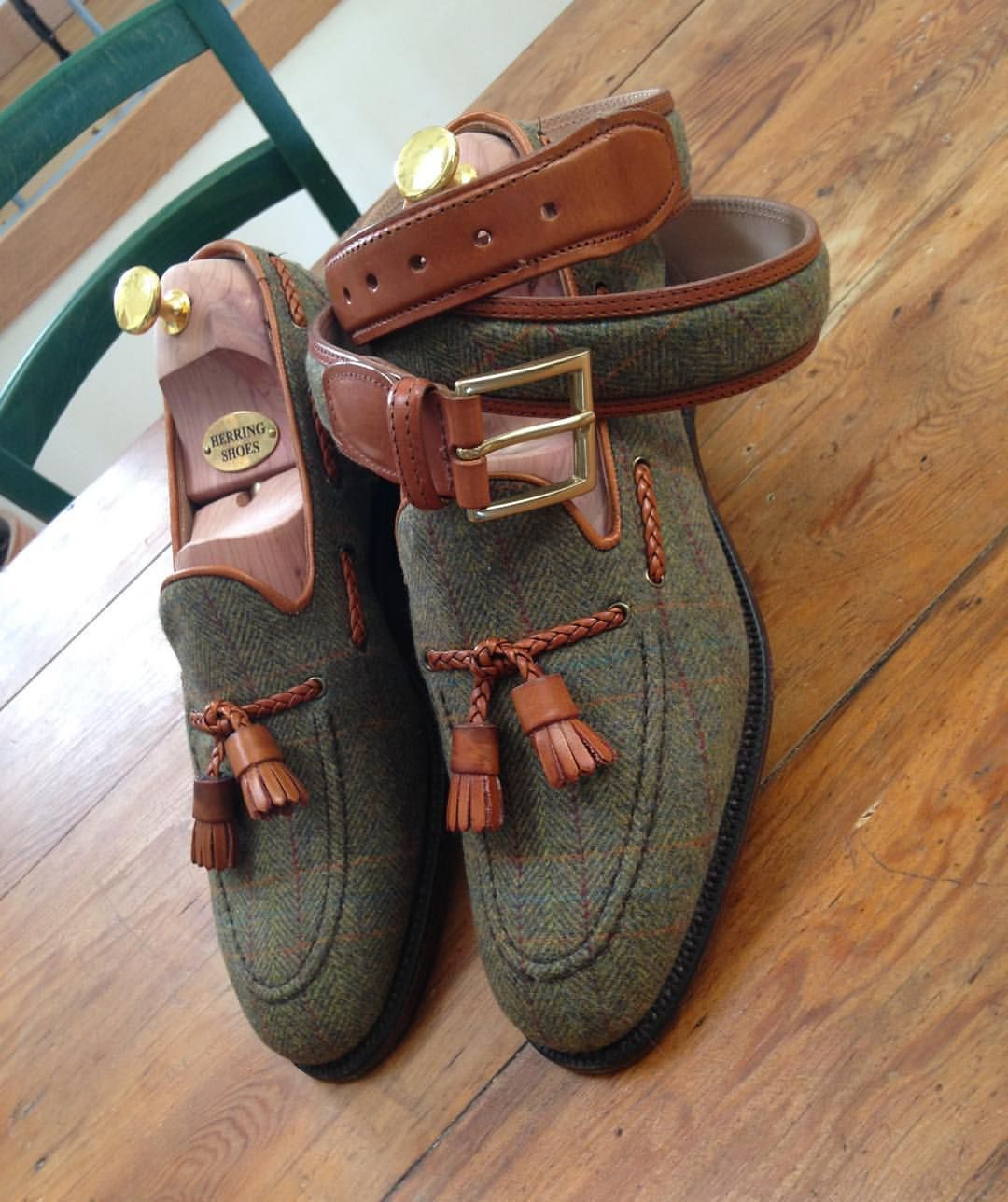 94682ddbd83 Herring Exford tweed tasselled loafers in Tweed and Chestnut