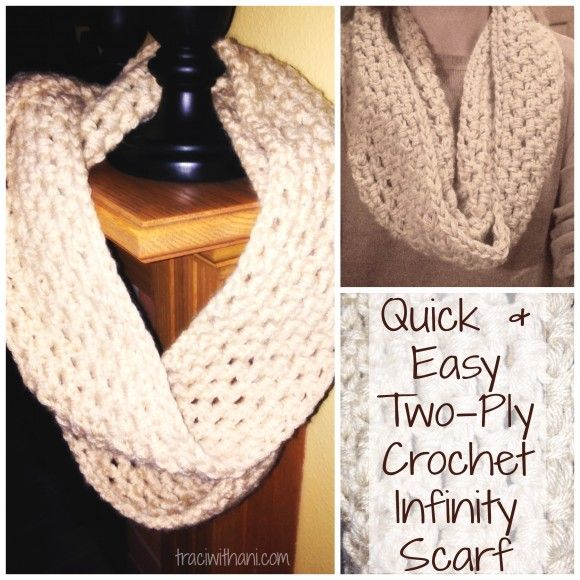 Quick and Easy Two Ply Crochet Infinity Scarf / Cowl | Tricot ...