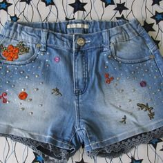 Upcycling mode  fleurs vintage boho hippie short customisé  patchs silvian heach kids