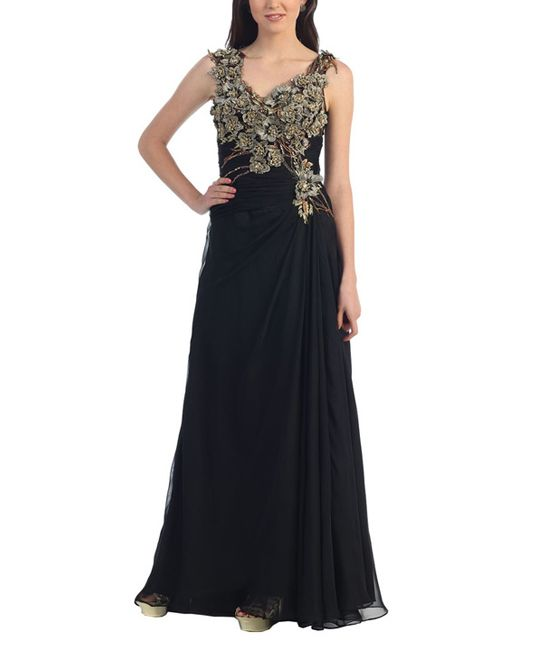 Black Floral Embellished Gown - Plus Too