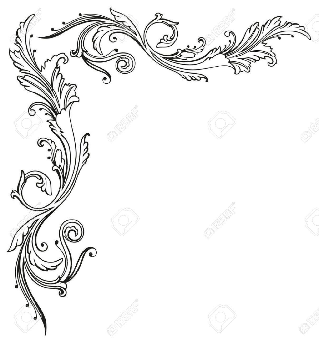 Retro Border Stencils : Vintage tendril floral and filigree border stock
