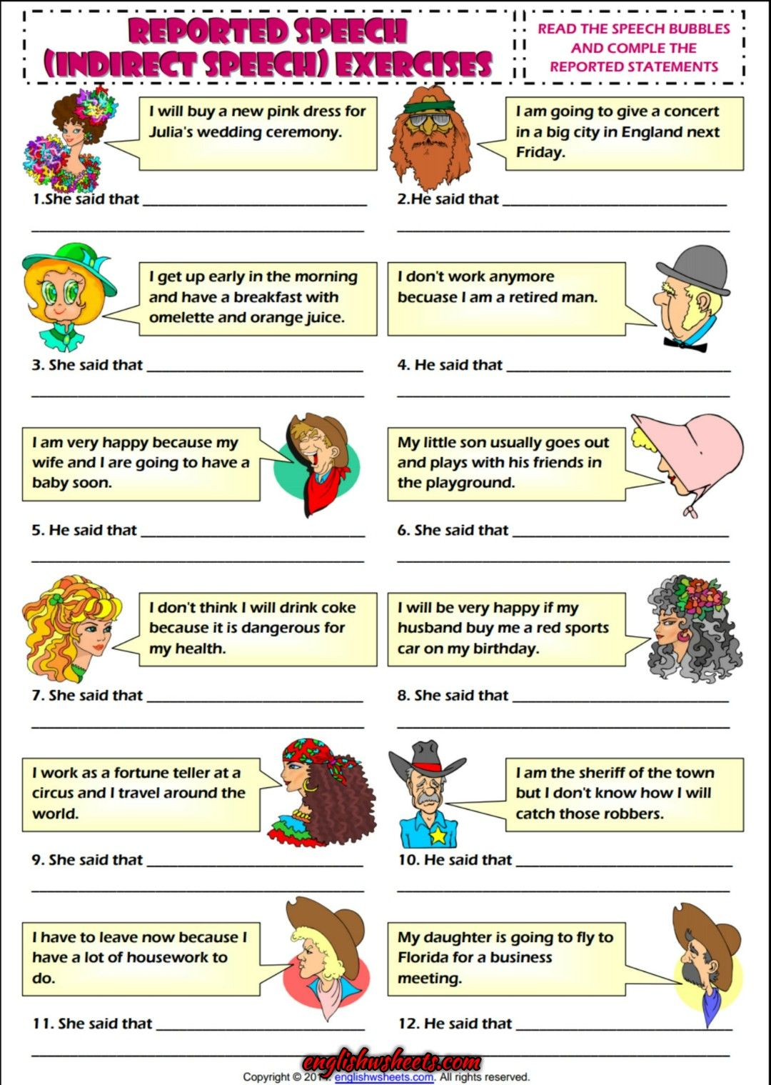 Indirect Speech ESL Grammar Exercise Worksheet   Indirect speech [ 1519 x 1080 Pixel ]