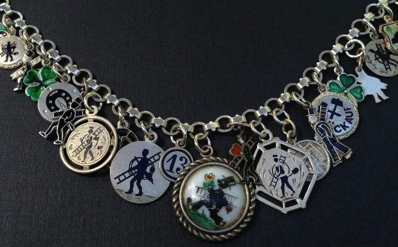 Vintage Charm Bracelet Collection - Lucky Chimney Sweep Silver & Enamel Charm Bracelet