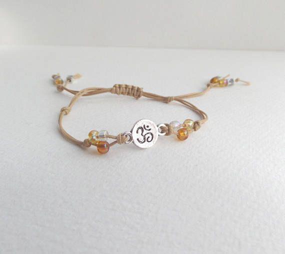 Yoga Symbol Bracelet Beige Cord Bracelet Silver Om Symbol Light