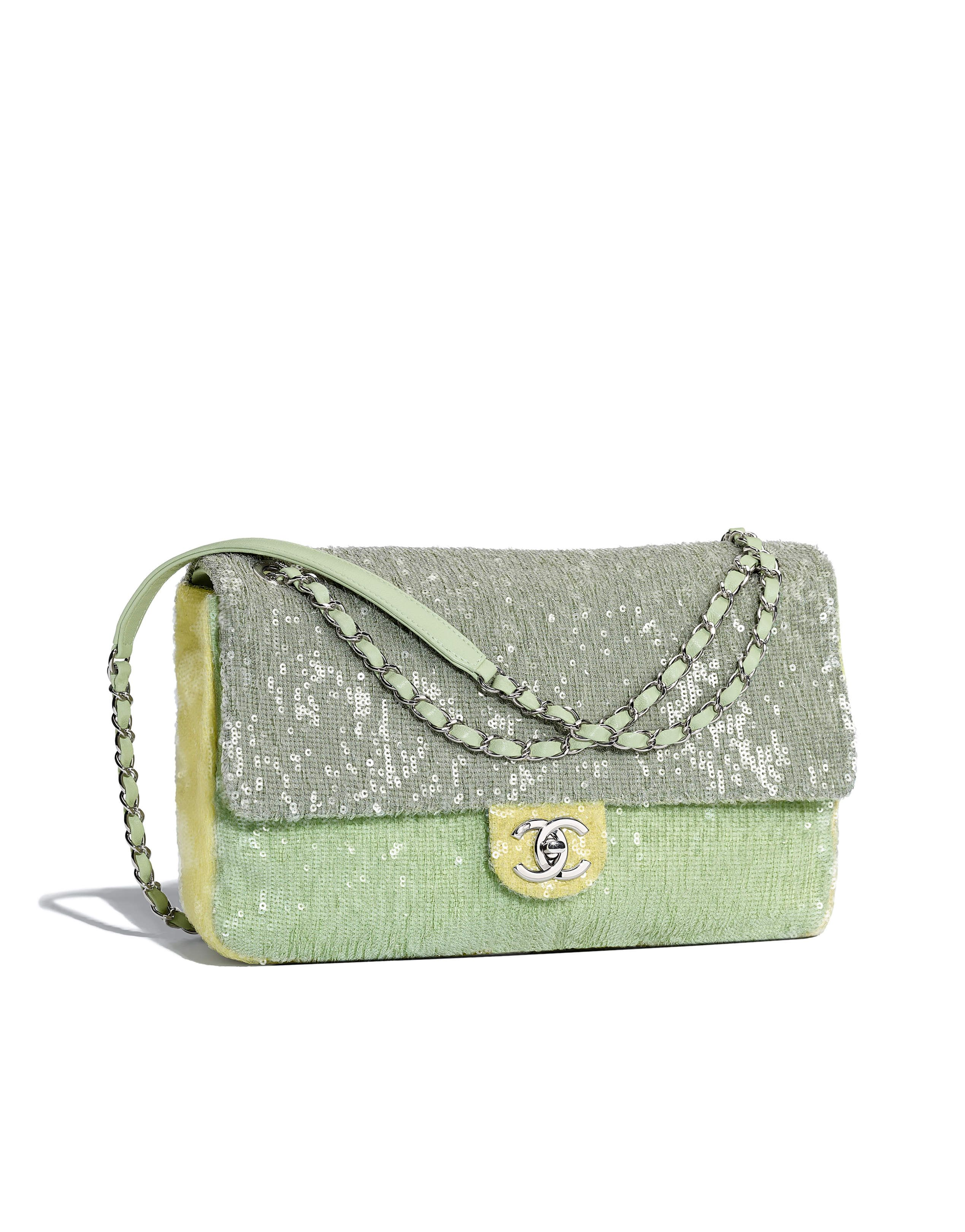 d805fcd2fa08 Chanel - SS2018 | Green, light green & yellow sequin flap bag | BAGS ...