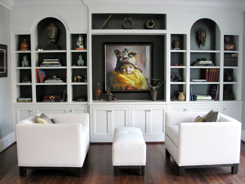 Dark Paint Behind Shelves Contemporary Living Room By Srm Architecture And In Bookshelves In Living Room Living Room Furniture Layout Contemporary Living Room