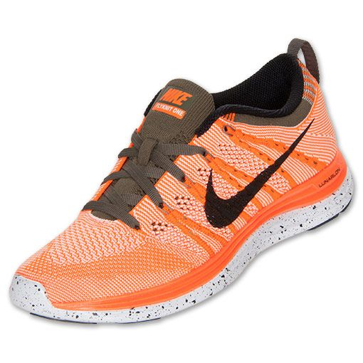 half off 68f61 d20ff Nike Flyknit Lunar 1+ Women s Running shoes Total Orange Black Sail Tarp  Green are a good bargain.