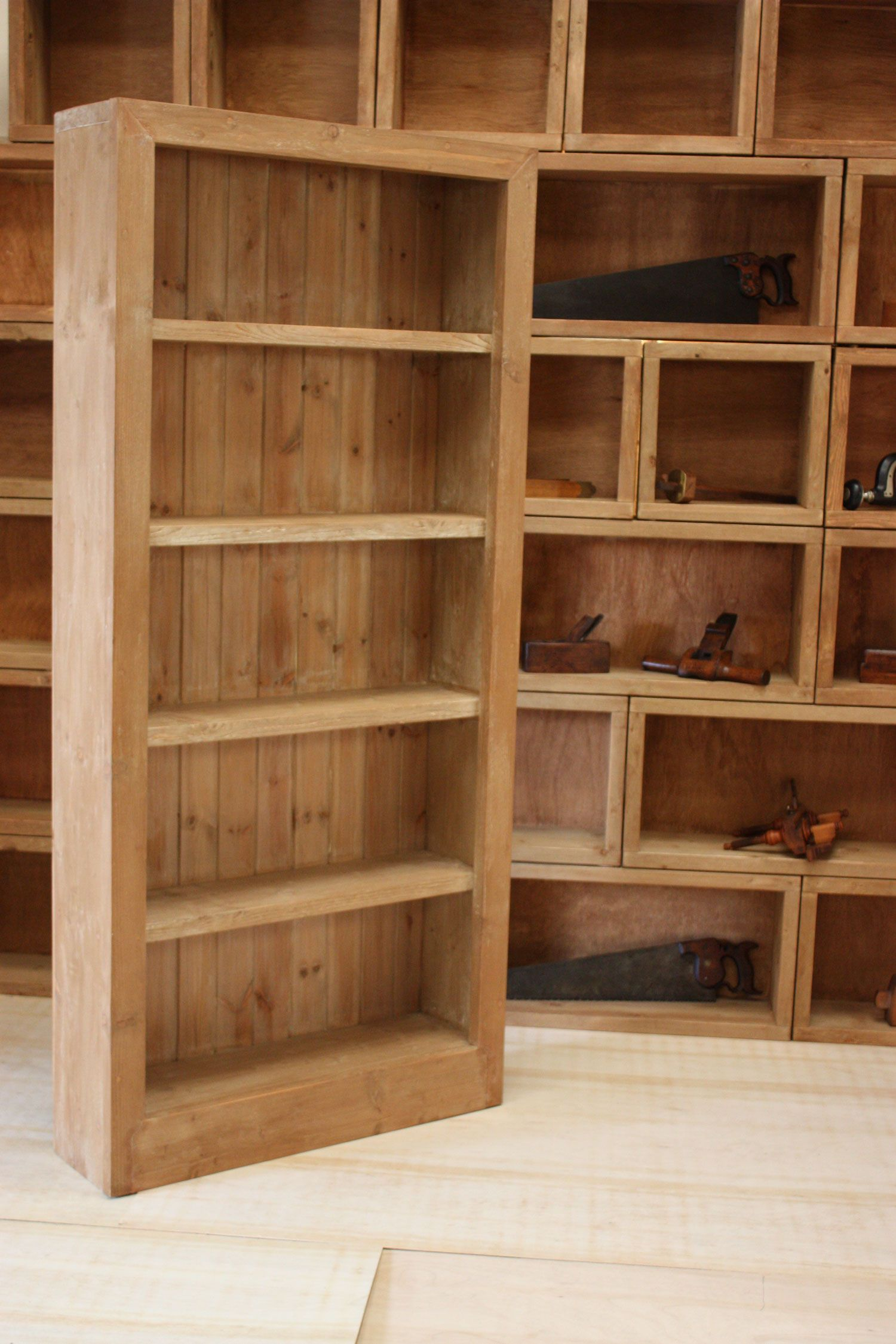 classic chunky wooden bookcase handcrafted from reclaimed