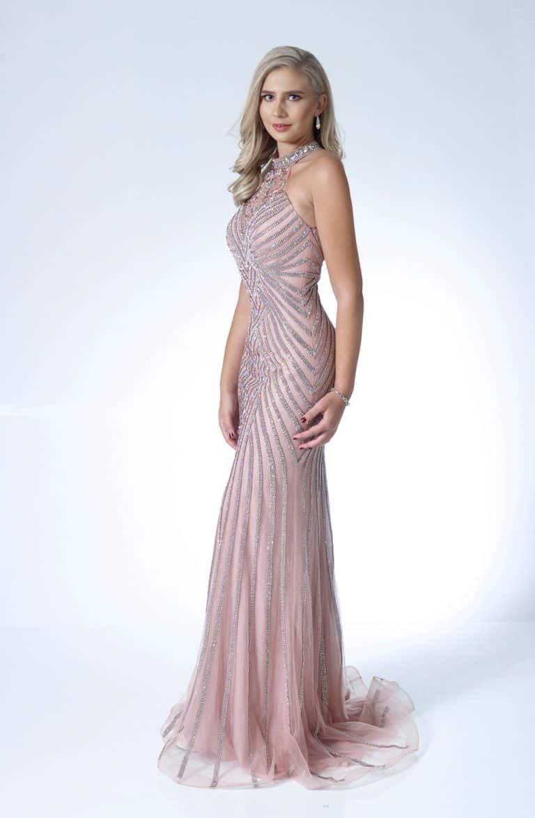 Full length embellished dress. AF80795-8