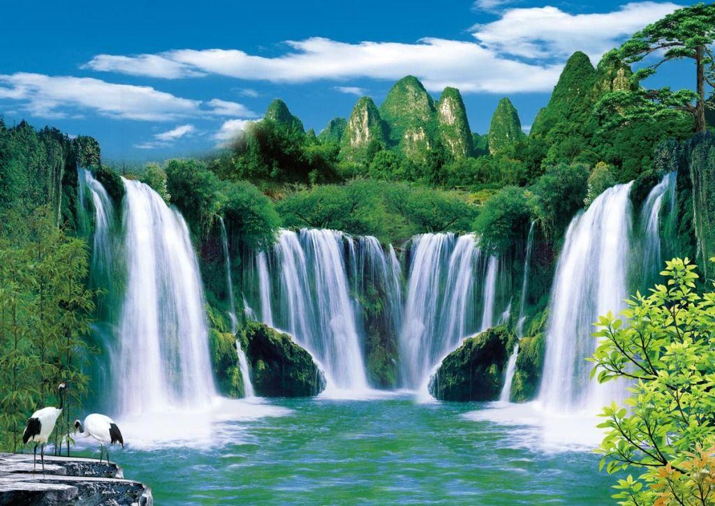 Water Making Waterfall Natural Scenery Background Wall Scenery Background 3d Wallpaper Background Nature Wallpaper