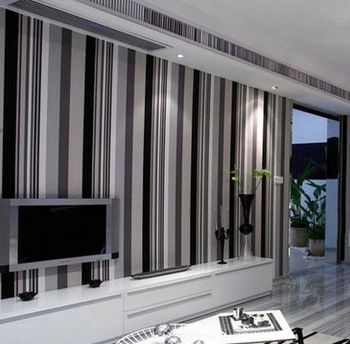 Plain Stripe Cream Grey Black White Dark Vinyl Pvc Wallpaper Wall