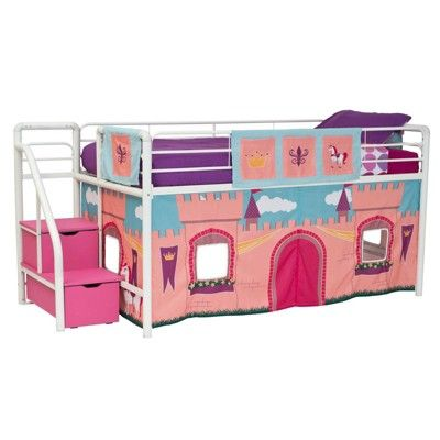 Princess Castle Curtain Set For Loft Bed Pink Dorel Home Products In 2021 Loft Bed Curtains Bed Curtains Junior Loft Beds