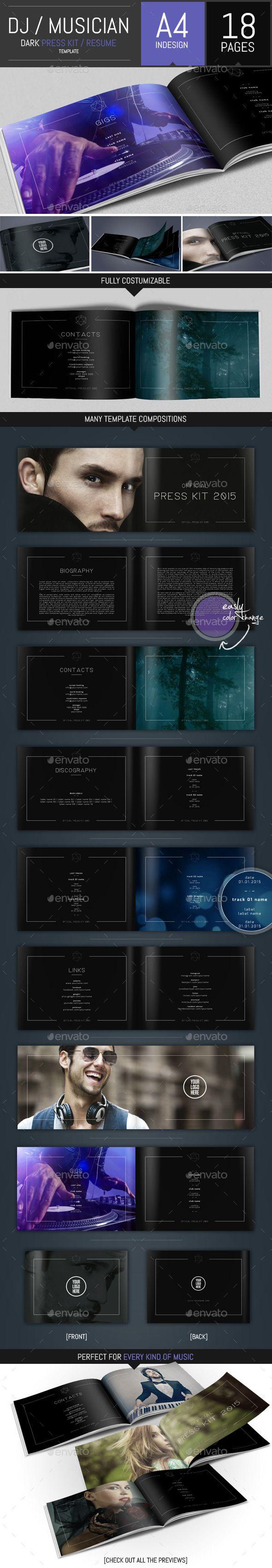 Musicians Resume Template Impressive Dj And Musician Dark Press Kit  Resume Template — Vector Eps .