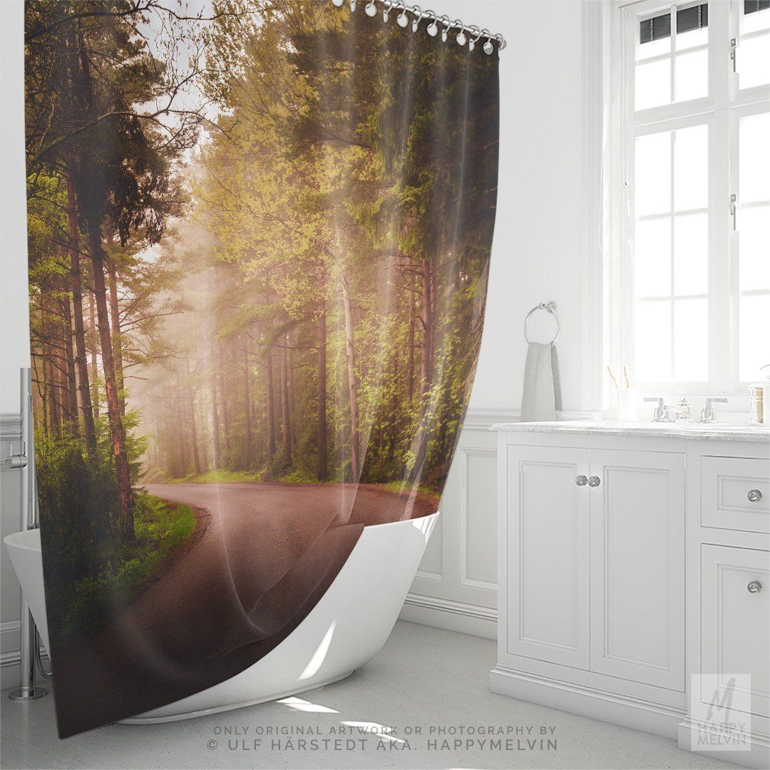 Beautiful Shower Curtain With A Dreamy Forest Road Design Bath Home Decor Bathroom Nature Photography Dorm