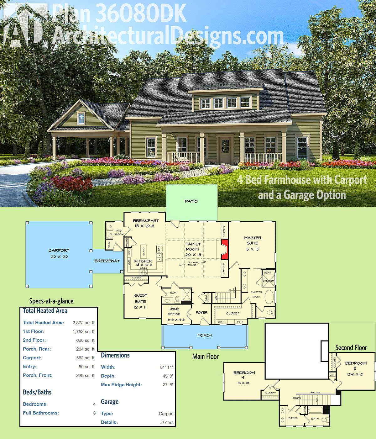 Plan 36080dk 4 bed farmhouse with carport and a garage for House plans with 4 car attached garage