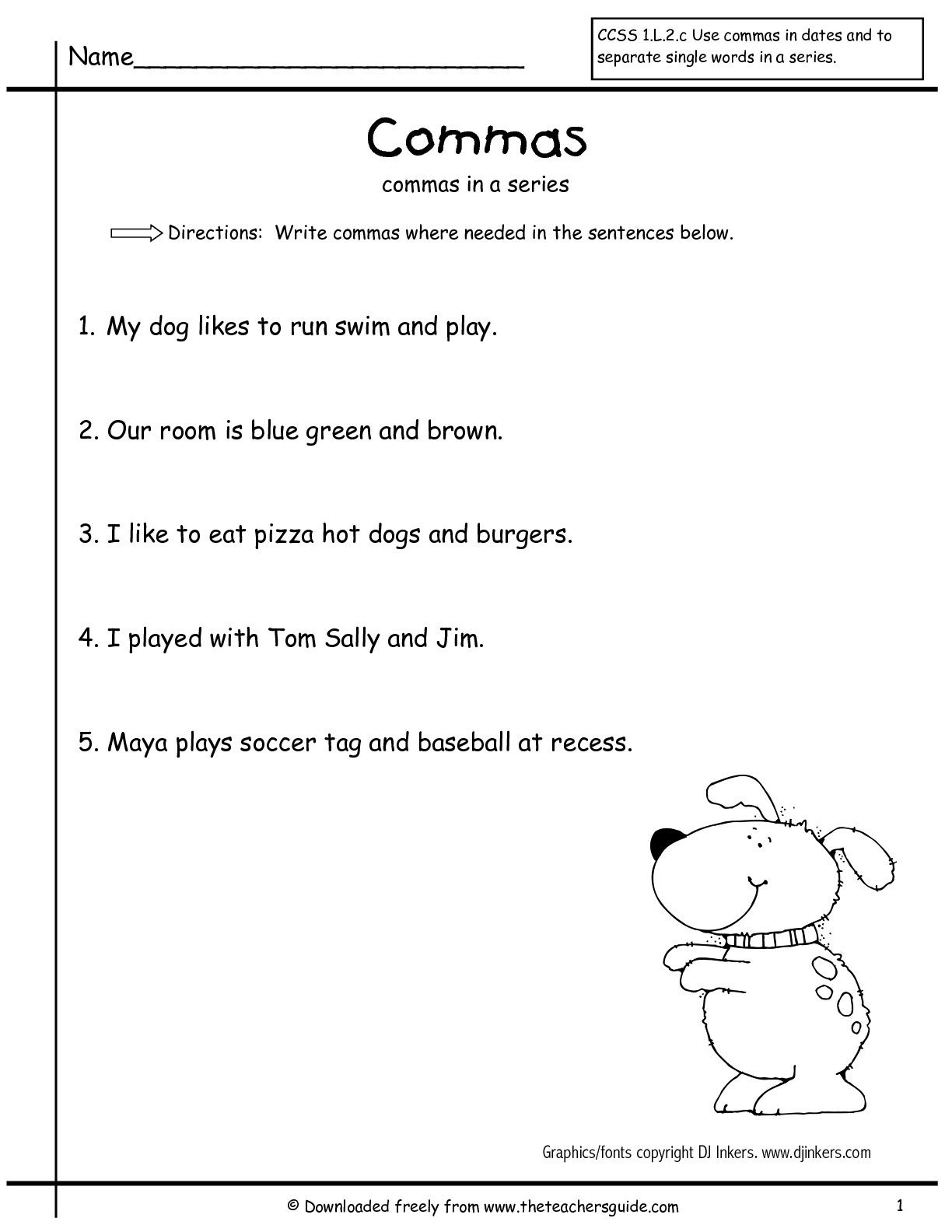 Commas In A Series Worksheet For 2nd Grade