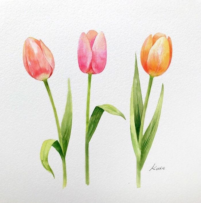 1001 Ideas De Dibujos De Flores Faciles Y Bonitos Dibujos De Flores Tulipanes Dibujo Flores Acuarela