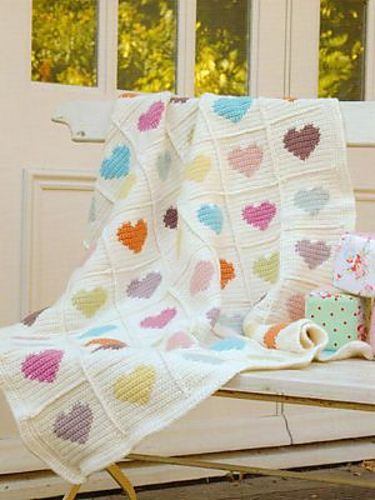 Ravelry: Sweetheart blanket pattern by Nicki Trench from Cute and Easy Crocheted Baby Clothes  Tutorial╭⊰✿Teresa Restegui http://www.pinterest.com/teretegui/✿⊱╮