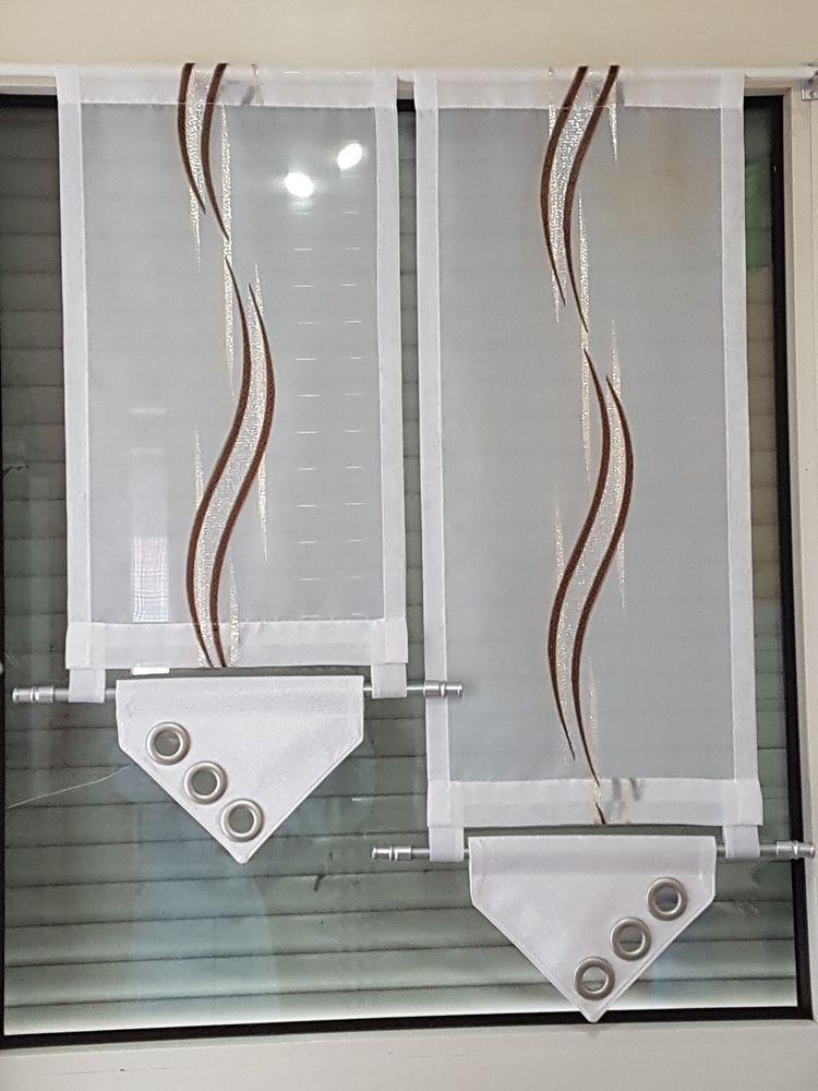 Scheibengardine Modern Braun Silber Weiss Mobel Wohnen Rollos