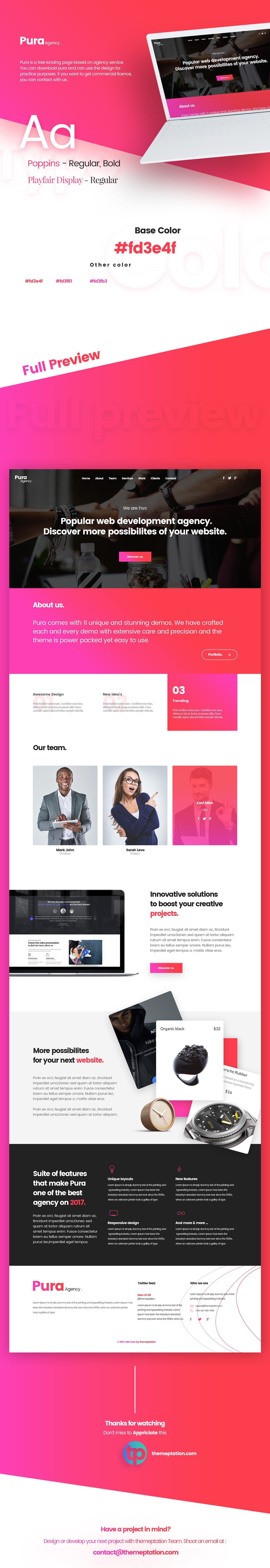 Pura is a free psd landing page based on agency service. You can ...
