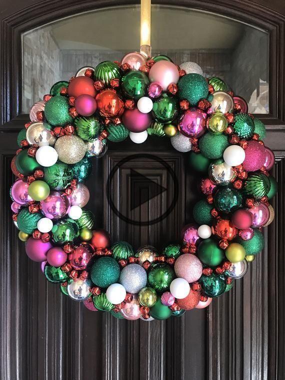 Beautiful Custom Christmas Ornament Wreath! Holiday Wreath! Bauble Wreath! Customizable! Christmas W