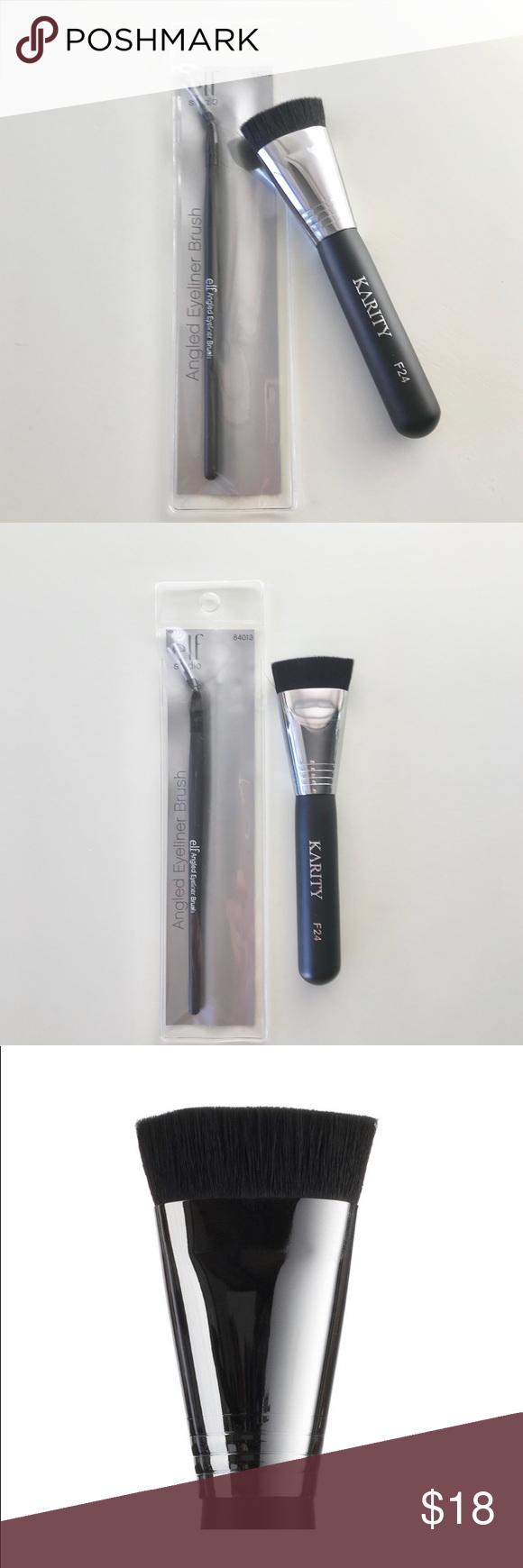 Flat Contour Brush & Angled Eyeliner Brush Set NWT