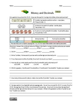 Money and Decimals Worksheet - Common Core Numbers & Operations