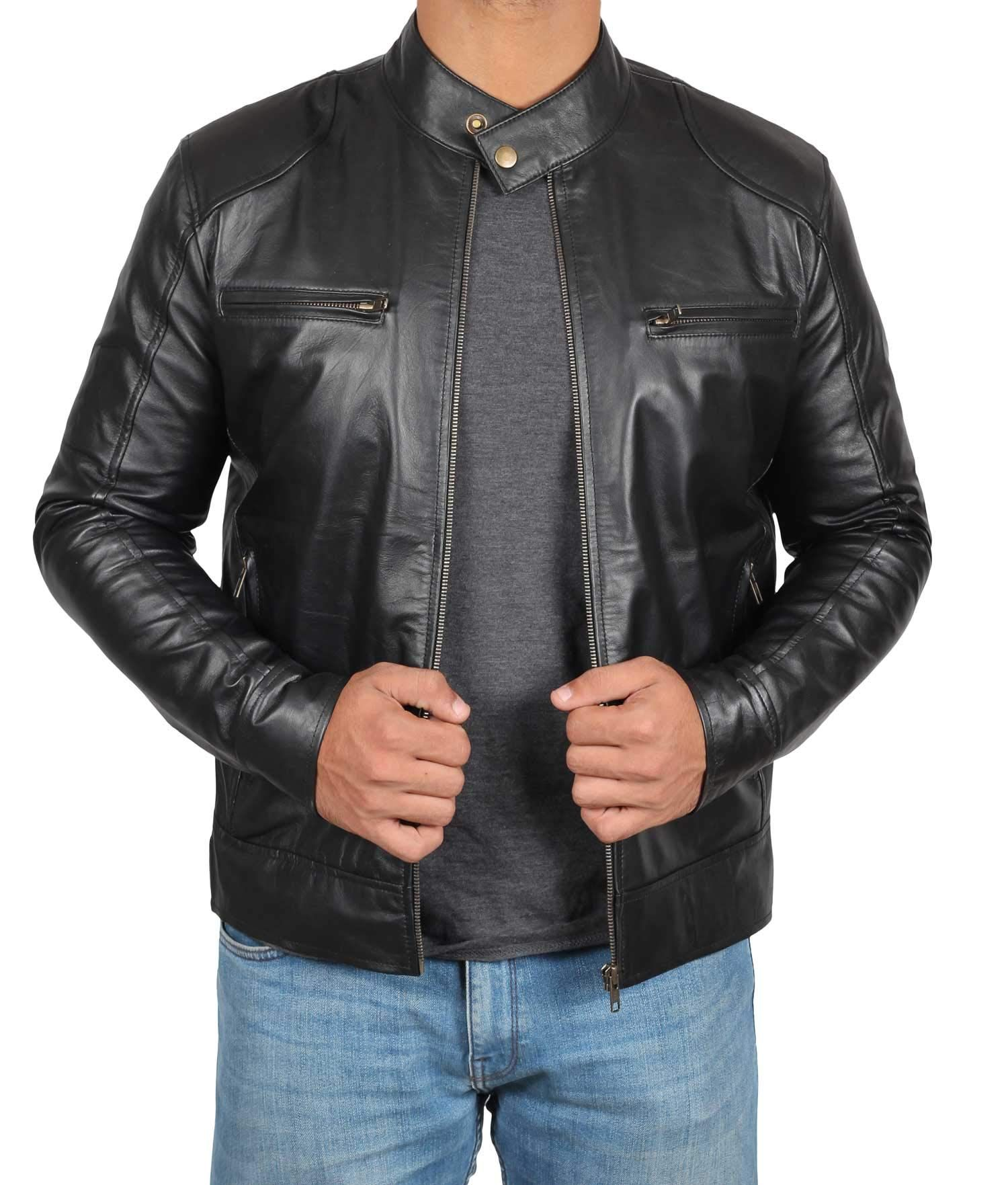 Cafe Racer Mens Leather Jacket Black Real Lambskin