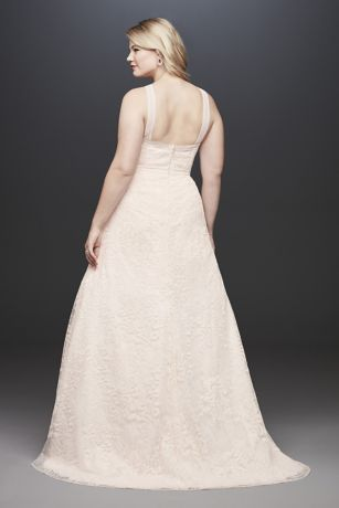 4a4be113bdb Embroidered Lace Y-Neck Plus Size Wedding Dress