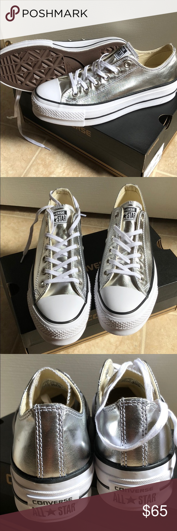 """3f7874cfe69 Converse ✨NEW IN BOX✨ FIRM PRICE ✨ Converse Chuck Taylor All Star lift low  top. Metallic silver canvas with about 1"""" platform for lift."""