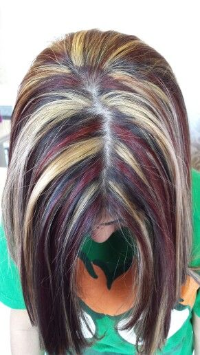Bright red, blonde and brunette! ! Chunky awesomeness!  Pravana is beautiful! !