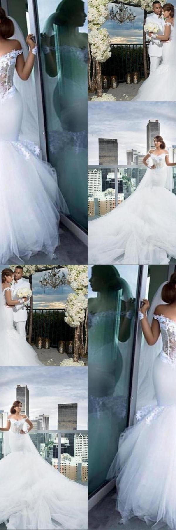Cheap soft mermaid wedding dresses mermaid tulle elegant appliques