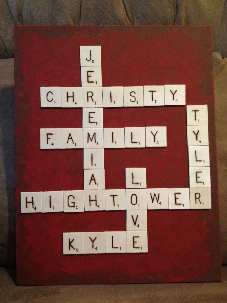 Scrabble Tiles On Painted Canvas Family Member Names With
