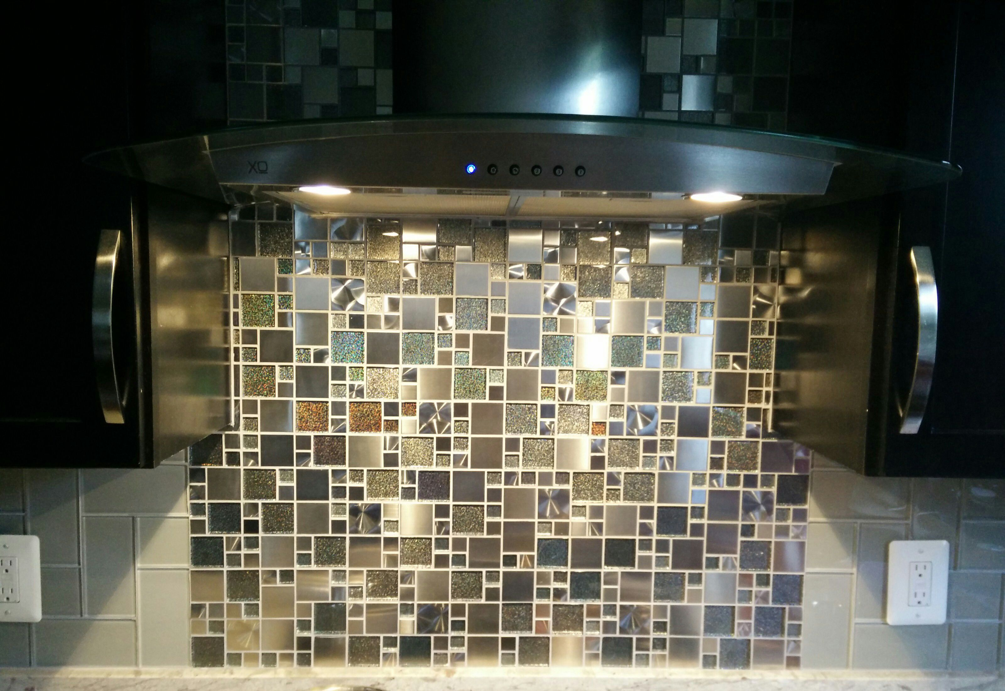 Modern Cobble Stainless Steel With Silver Glass Backsplash Kitchen Mosaic Tile