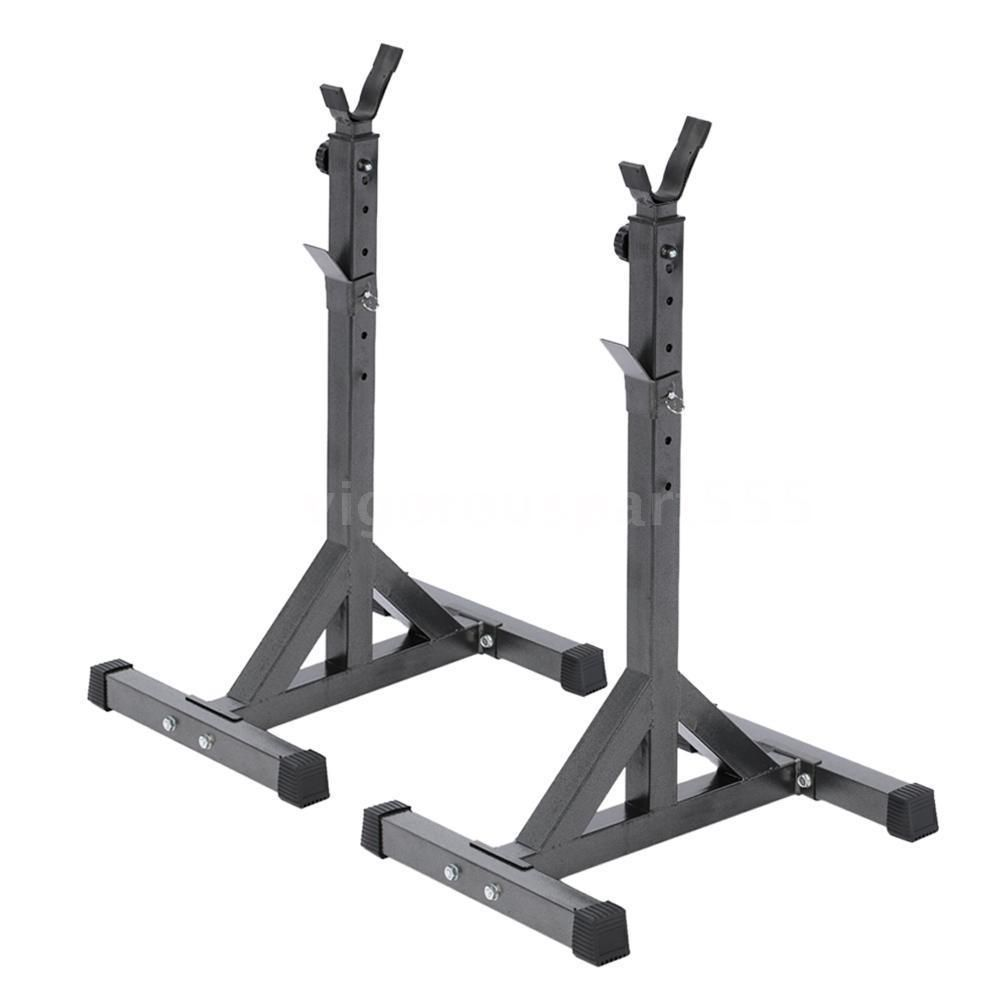 Portable 2x Squat Rack Stand Barbell Bench Press Home Gym Weight Strength Y1b7 Work Out Wear Squat Rack Squat Stands Gym Weights