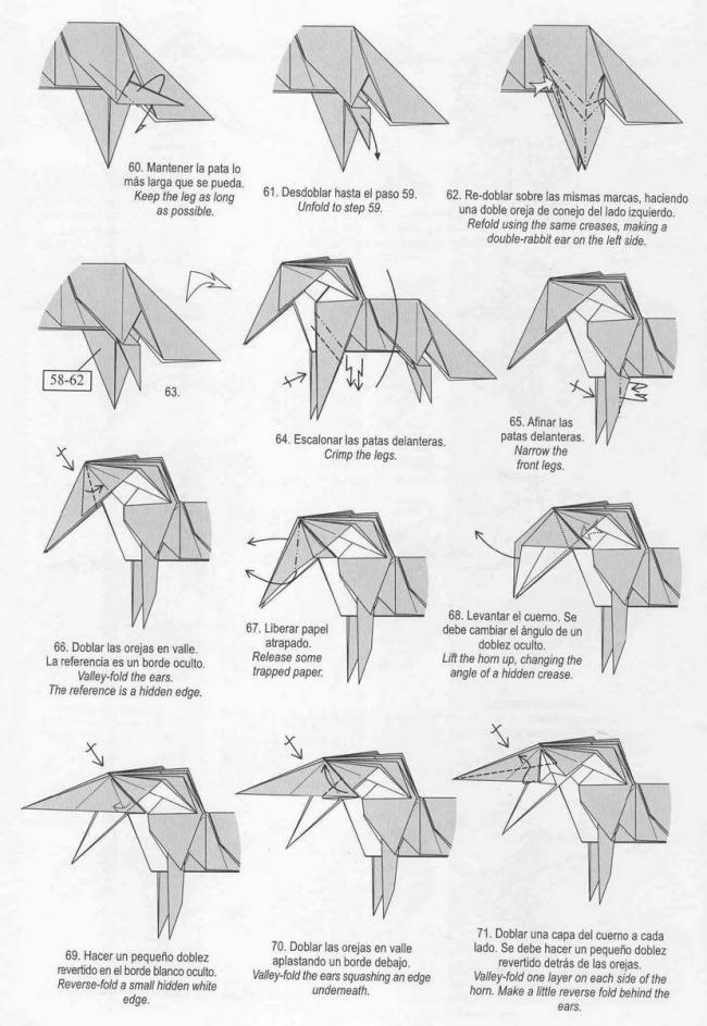 tuto origami unicorn