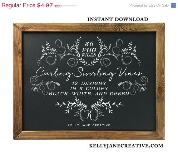 gorgeous leafy scrolls and vine frame chalkboard clipart design elements made for wedding invitations awards blog graphics