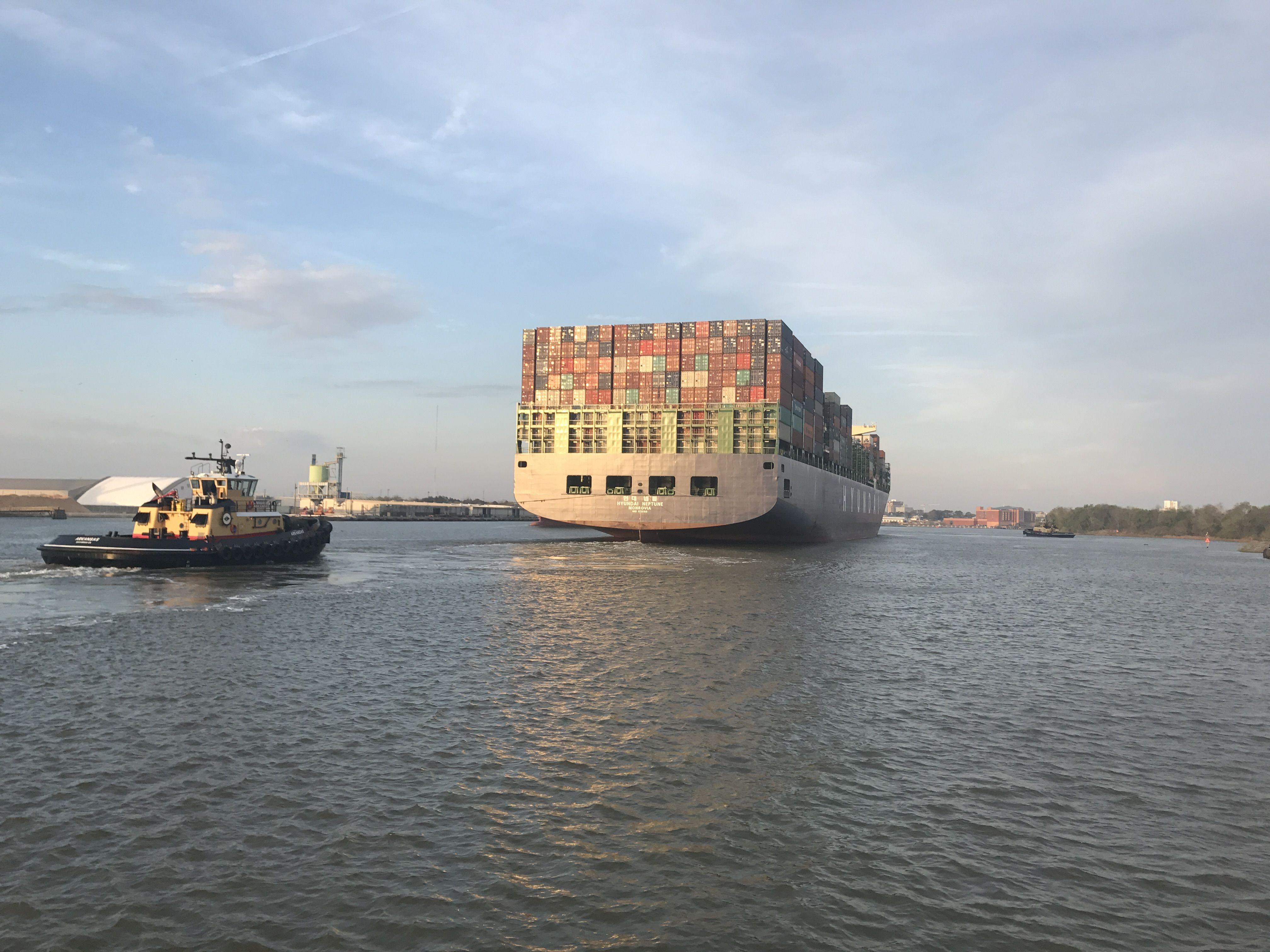 Savannah, GA two ships passing in the Savannah River  One