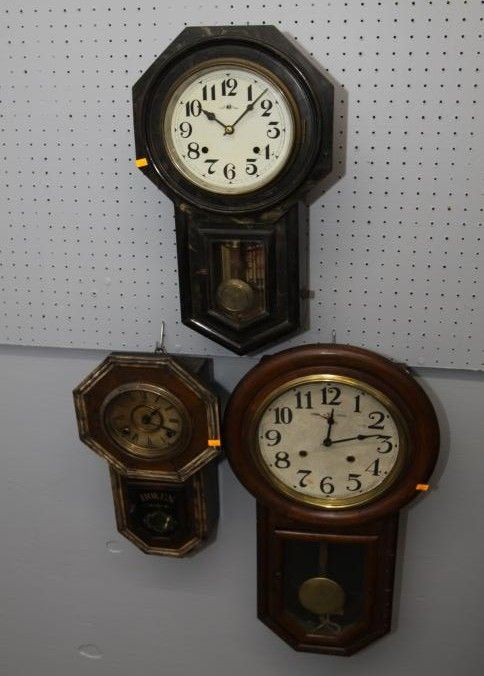 Three Regulator Style Wall Clocks Incl Yamato Clok Hoken Third Unmarked All With Keys Largest Is 14 X27 T Cloc Clock Antique Clocks Antique Wall Clock