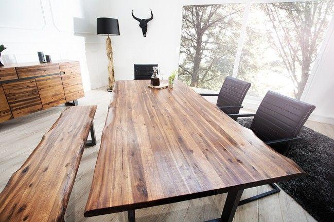 Massiver Baumstamm Tisch GENESIS 160cm Akazie Massivholz Baumkante