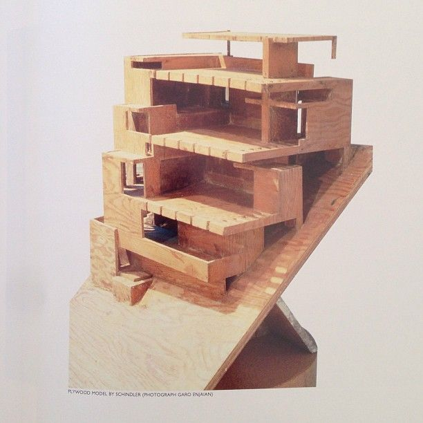 R.M. Schindler's plywood model of the Wolfe House on Catalina Island (1928-29). The house was DEMOLISHED in 2002.