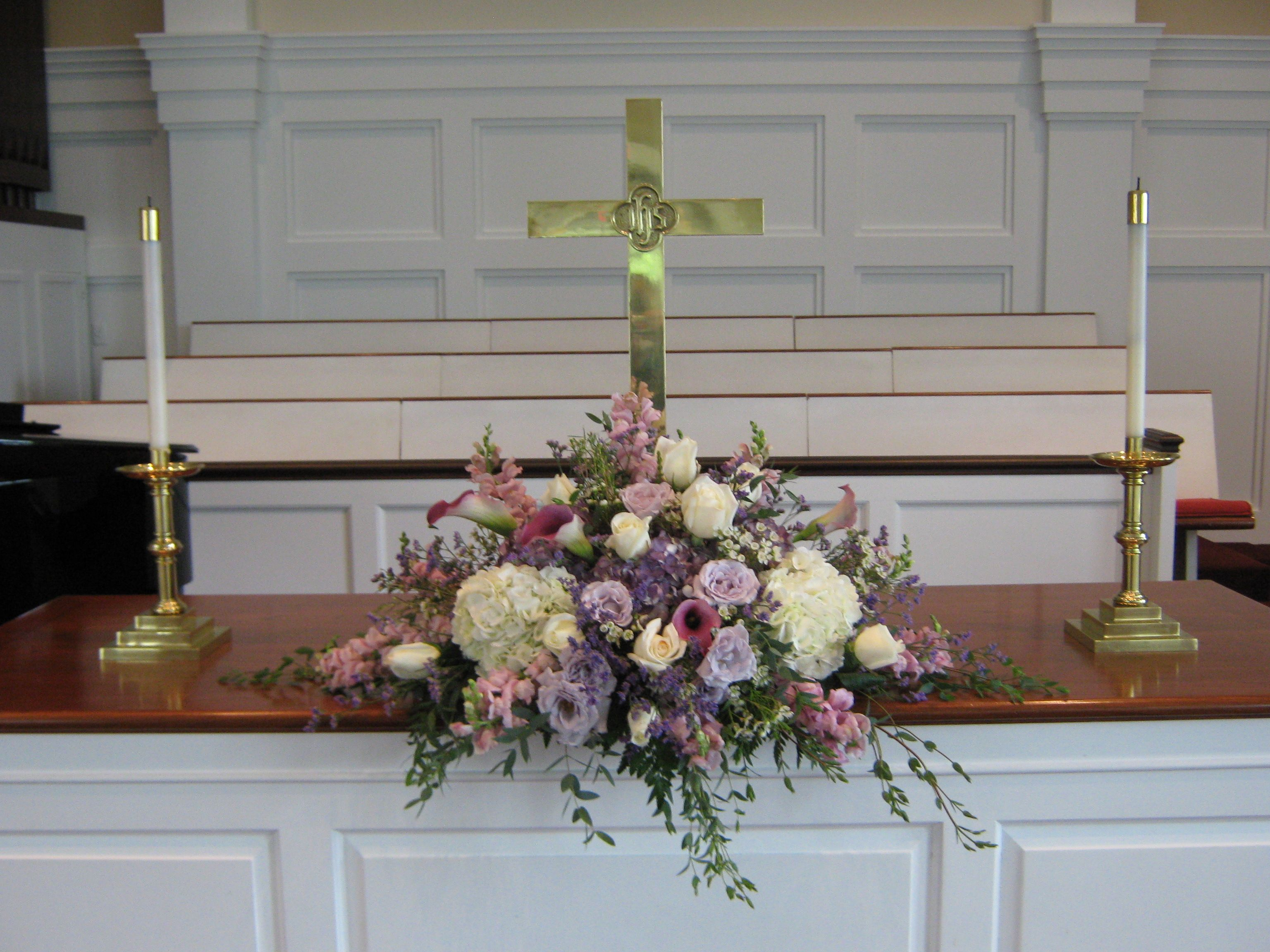 Flower Arrangements For Church Altar Church Wedding
