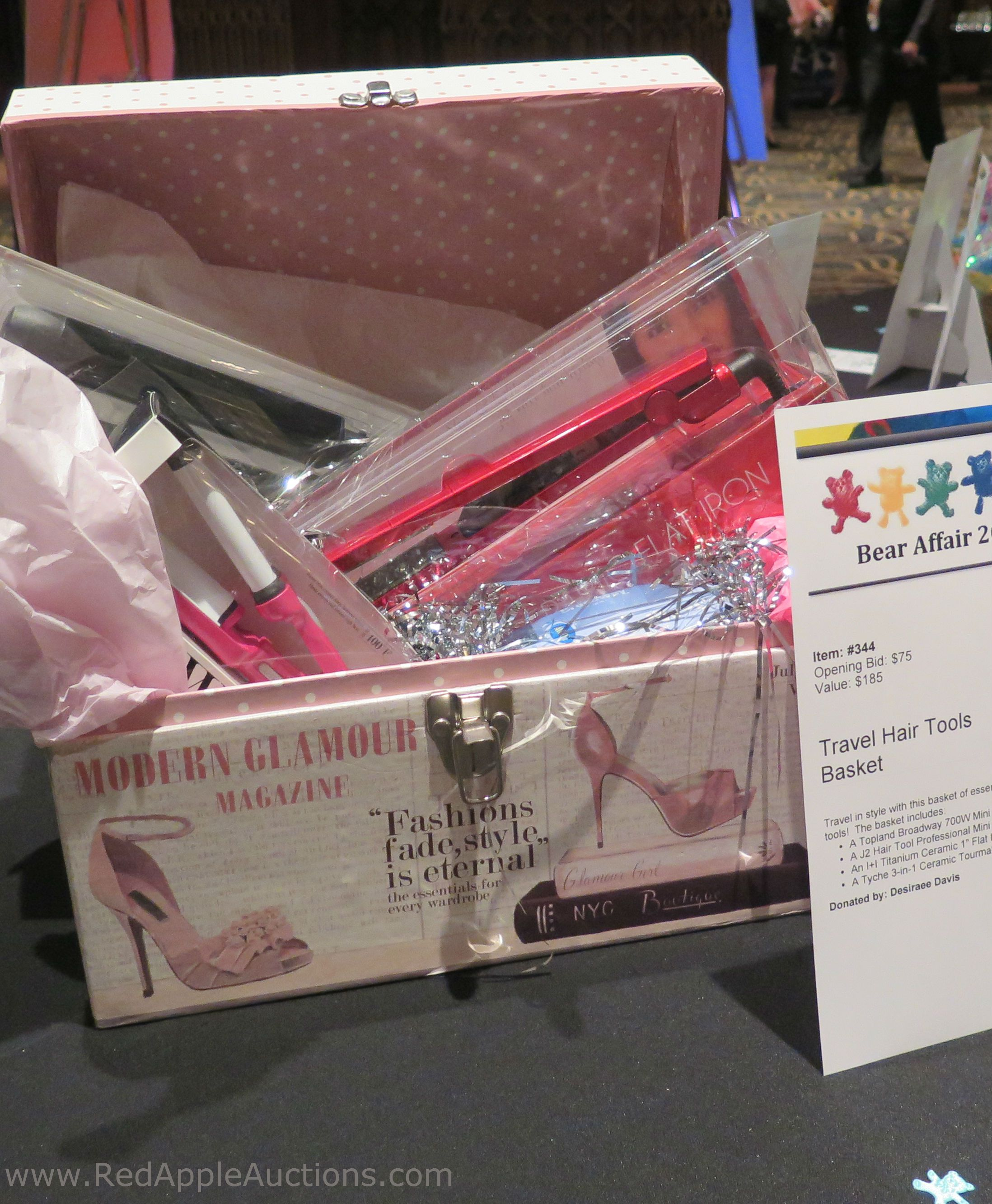 Travel hair tools basket in the silent auction. Cute pink