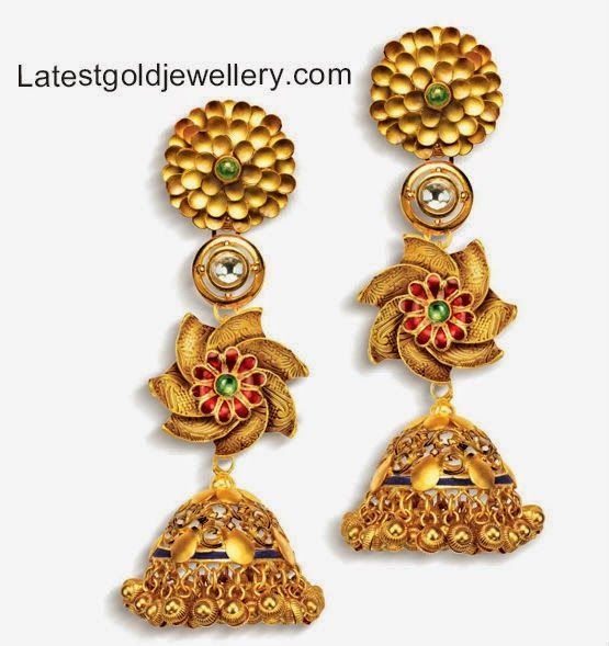 trendy gold jhumkas Antique gold Jewellery Pinterest Gold