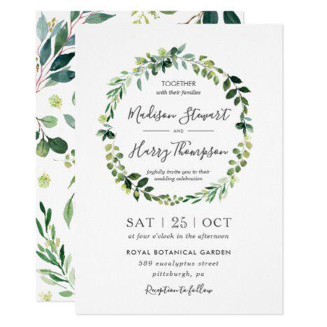 Photo of Chic Greenery Eucalyptus Wreath Wedding Botanical Invitation   Zazzle.com