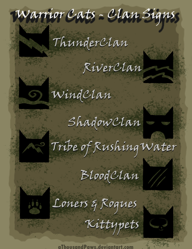 Warrior Cats - The Clans by aThousandPaws deviantart com on