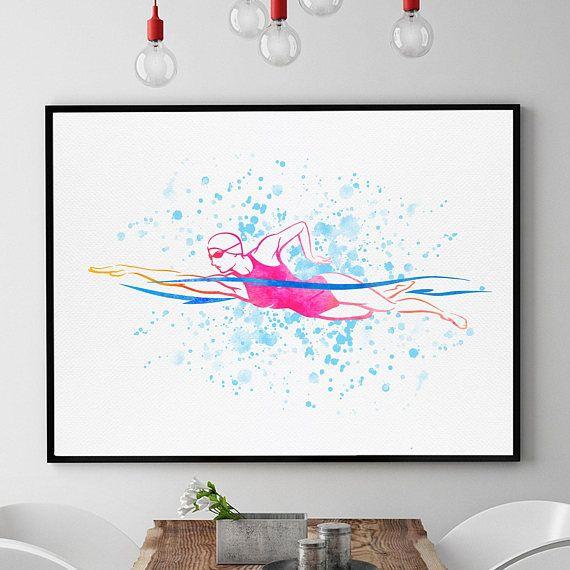 Swimmer Art Swimmer Gift Girl Swimmer Poster Swimming Wall Art Pool Decor Watercolour Swimmer Gift For Her 24x30 Print In 2020 Art Gifts For Swimmers Pool Decor
