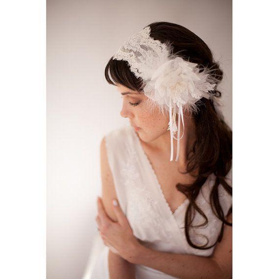 French lace bridal cap  English net par EricaElizabethDesign, $230,00