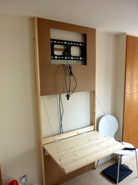 The Tv Wall Mount Desk Hidden Pc Living Room Tv Wall Diy Tv