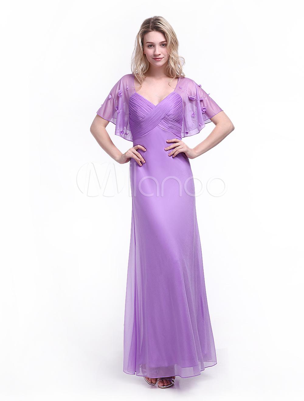 Vestido de noche Seda brillante de color lila con manga corta con ...